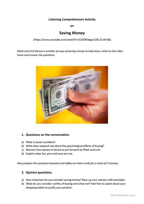 Listening Comprehension Worksheets by Saving Money Listening Comprehension Speaking B2