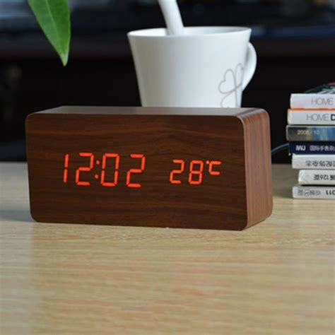 high quality led alarm clock high quality wood led alarm clock despertador temperature