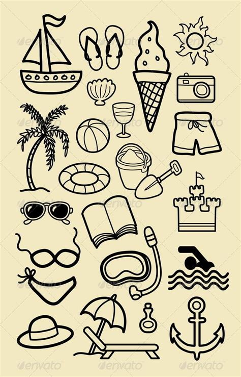 doodle drawing basic summer icon sketches adobe summer and beaches