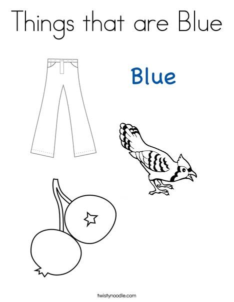 blue coloring pages for toddlers things that are blue coloring page twisty noodle