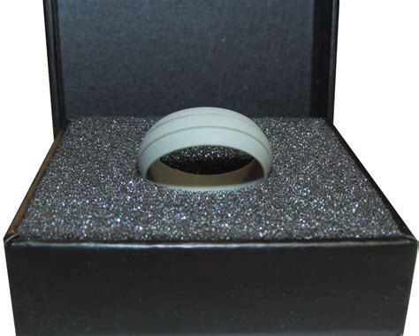 SILICONE MENS WEDDING RING BAND GREY GROOVE SIZES 5 14