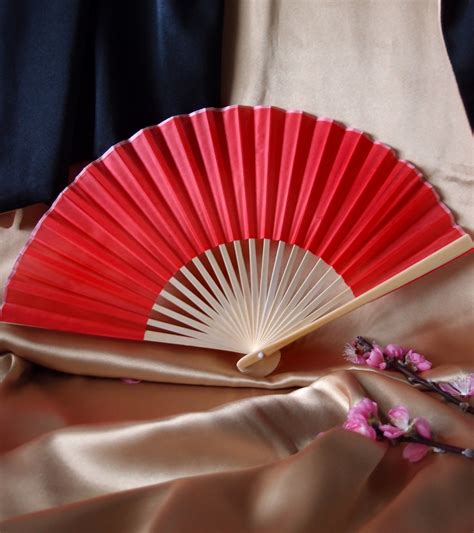 chinese fans for sale 9 quot red chinese folding silk hand fan for weddings on sale