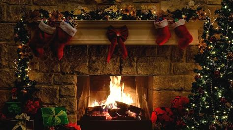 christmas fireplace scene  crackling fire sounds
