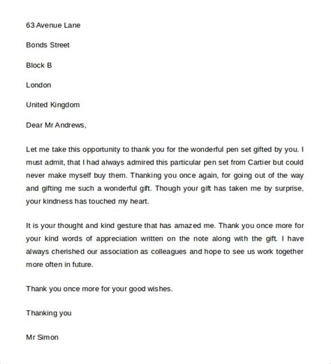 thank you letter to for gift sle thank you letter for gift 8 free word excel pdf