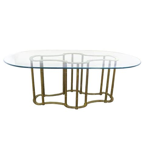 brass dining table oval glass and brass dining table by mastercraft at 1stdibs