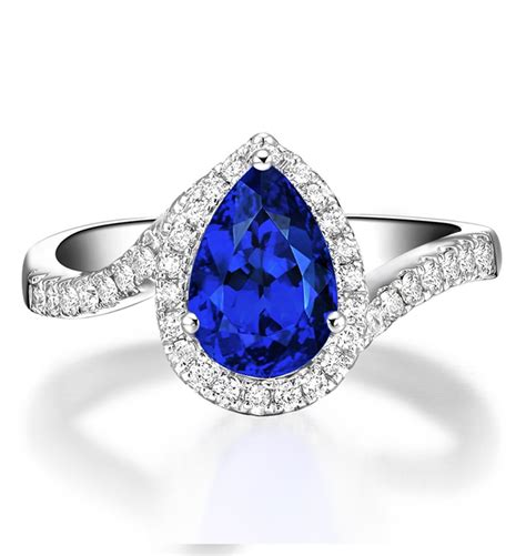 1 50 carat pear cut sapphire and curved engagement