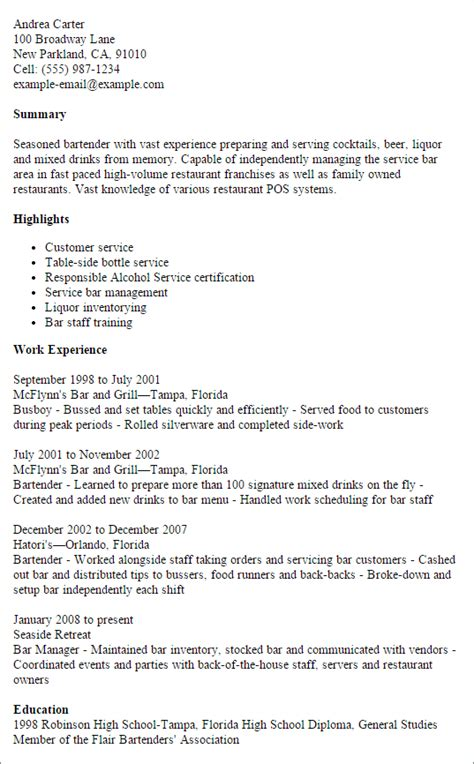 exles of bartending resumes professional bartender exle resume templates to