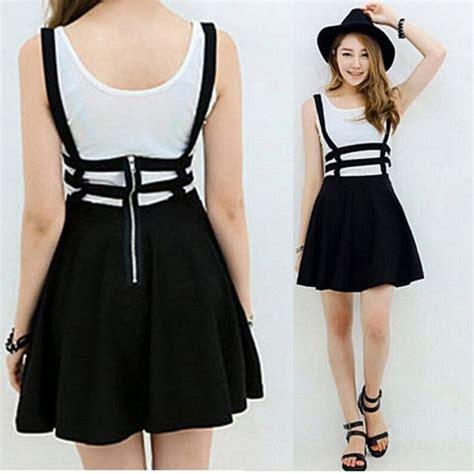 Supplier Baju Stripe Pleated Skirt Hq retro hollow mini skirt with suspenders suspenders mini
