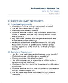 small business disaster recovery plan template 11 disaster recovery plan templates free sle