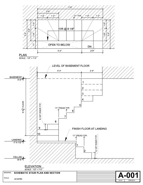 Emergency Floor Plan drawing fire escape stair dimensions visit deck railing