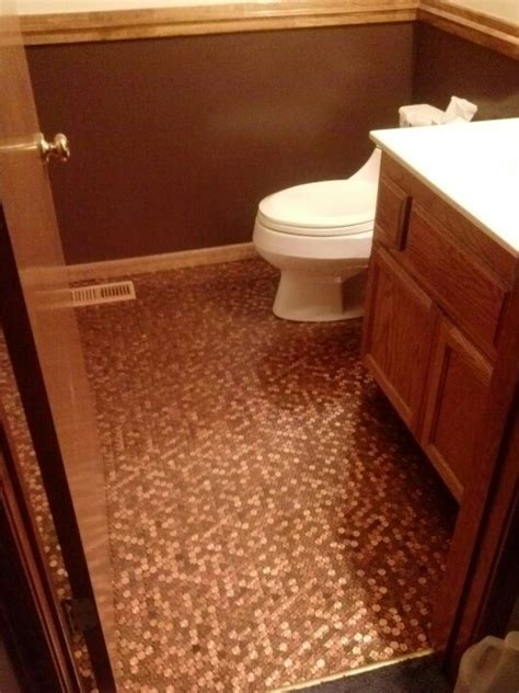 penny tile bathroom floor bathroom penny floor pennys pinterest
