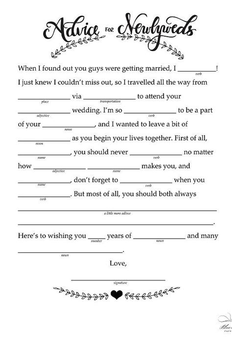 mad lib template 14 free and printable wedding mad libs receptions