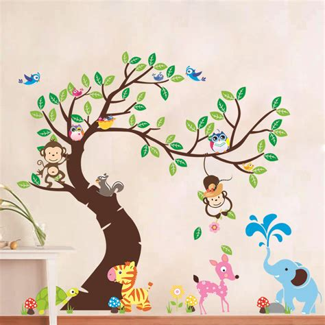 decals handmade artwork huge animal removable wall sticker tree decal art diy home