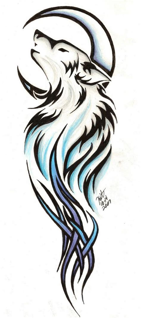 tribal wolf and moon tattoo andriaj89 wolf tattoos tribal meanings