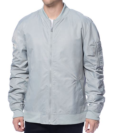 Jaket Bombber Scrimmer Light Grey Jaket Bomber Jaket Bomber elwood light grey bomber jacket at zumiez pdp
