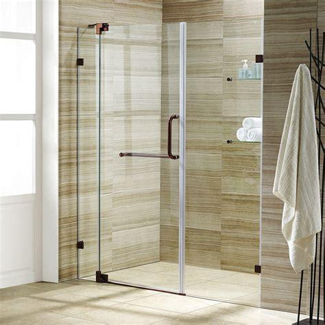rubbed bronze shower door frame vigo 36 in to 42 in x 74 in semi framed pivot shower