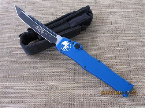 microtech halo 5 for sale microtech halo v blue handle tanto plain hollow grind