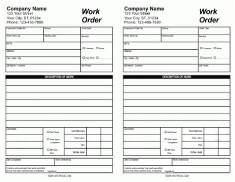 5 Work Order Templates Free Sle Templates Additional Work Order Template Free
