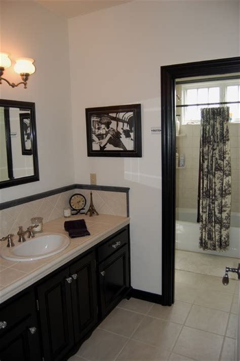 black and tan bathroom ideas black white toile bathroom mediterranean bathroom