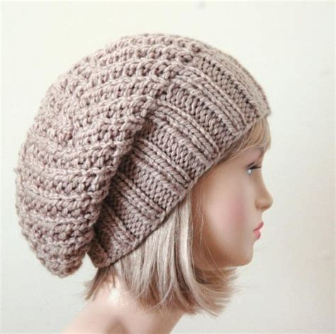 slouchy knit beanie slouchy beanie hat chunky knit reversible neutral
