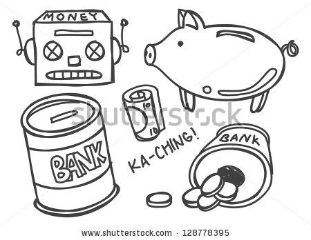 sign into doodle money bank doodle stock vector