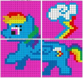 rainbow dash color  number mural coloring squared