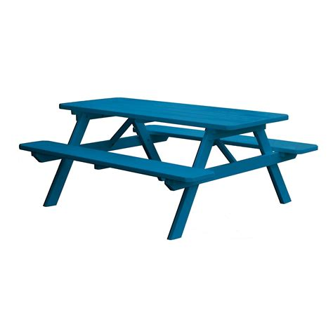 picnic table with attached benches 6 ft traditional wooden picnic table with 2 attached