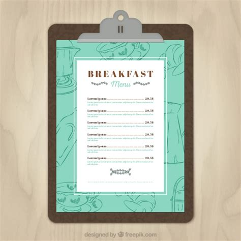 breakfast menu template vector free