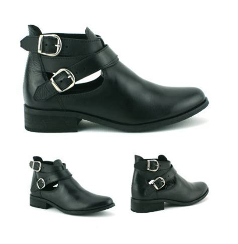 buy womens flat leather style buckle ankle boots in