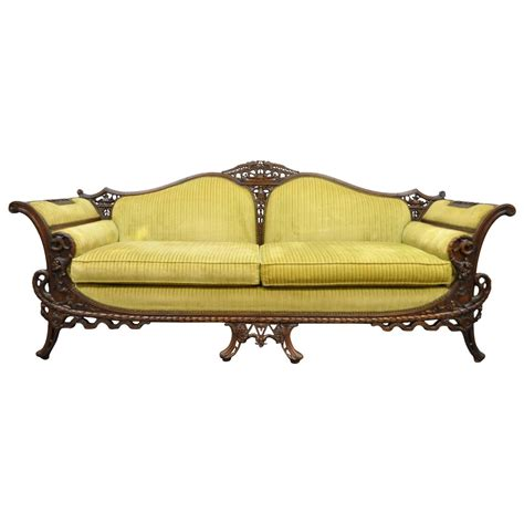 carved sofa 1930s mahogany chinese chippendale transitional swan and