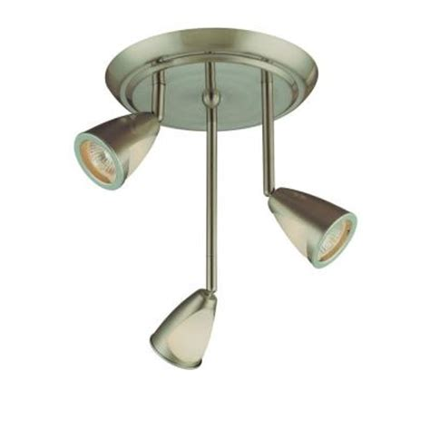Hton Bay 3 Light Staggered Brushed Steel Ceiling Track Home Depot Ceiling Light Fixture