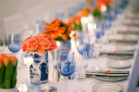 Navy Blue and Orange Nautical Connecticut Wedding