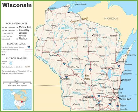 wisconsin on us map highway map of wisconsin wisconsin map