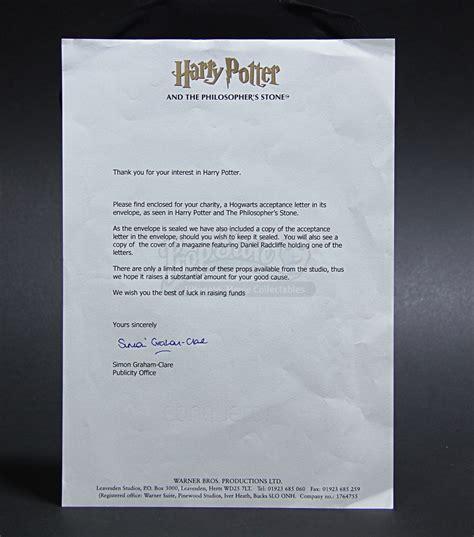 Hogwarts Acceptance Letter Prop harry potter and the philosopher s 2001 hogwarts