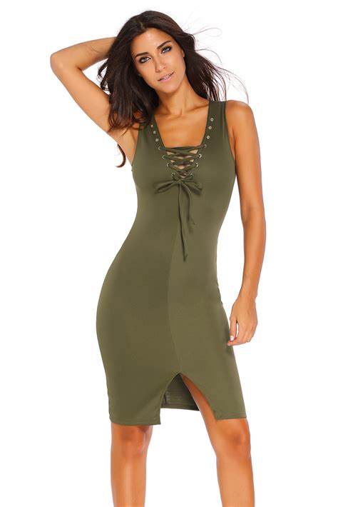 Up Front wholesale olive lace up front midi dress