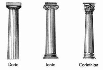 different shapes style and architectural columns on