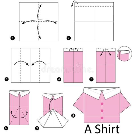 How To Make Origami Shirt - step by step how to make origami shirt stock