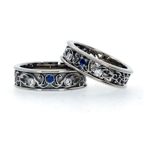 Wedding Ring Promo by Filigree Wedding Band Set With Blue Sapphires And Diamonds