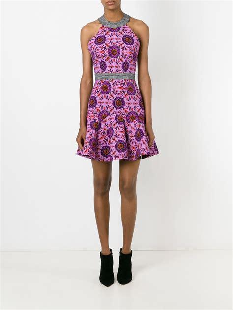 pattern peplum dress matthew williamson floral pattern peplum dress in pink