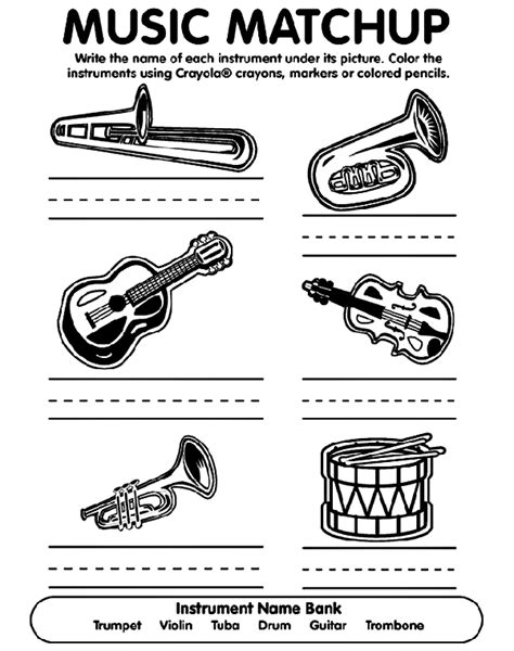 coloring sheets jazz instruments musical match up coloring page crayola com