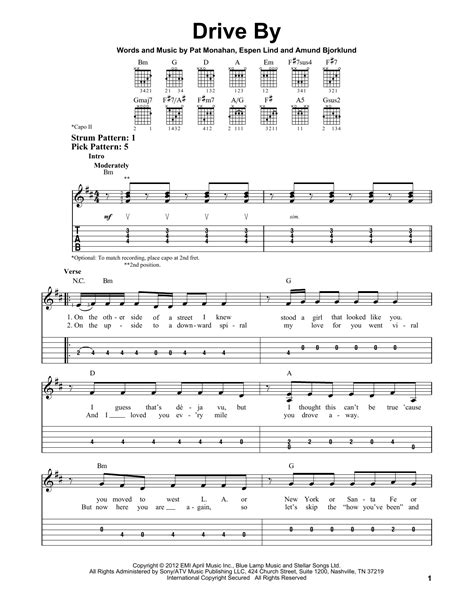 Drive By Sheet Music | Train | Easy Guitar Tab