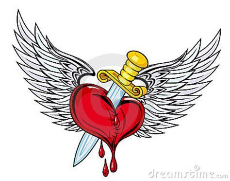 tattoo cuore con le ali cuore con la spada e le ali immagine stock libera da