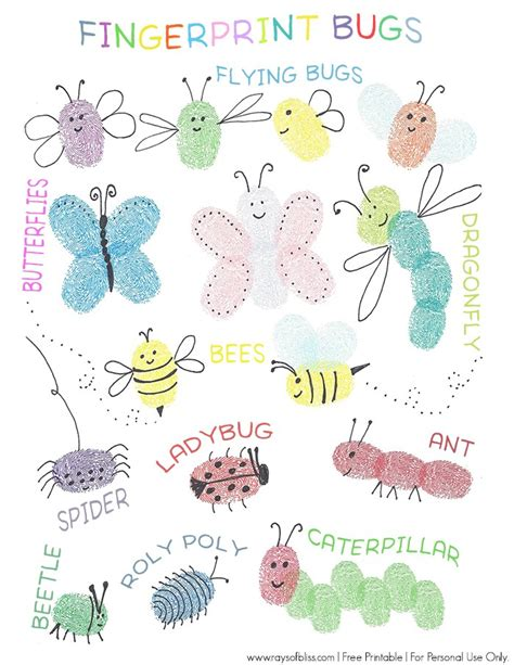 thumb print cards craft by free template bugs fingerprint free printable guide project