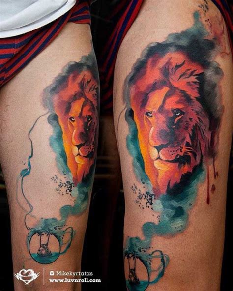 lion tattoo on thigh tattoos on thigh www imgkid the image kid has it