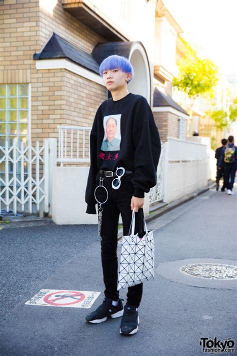 purple haired harajuku in streetwear by issey miyake