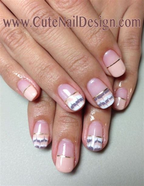 pattern french manicure pink and brown peacock pattern gel french nails nails