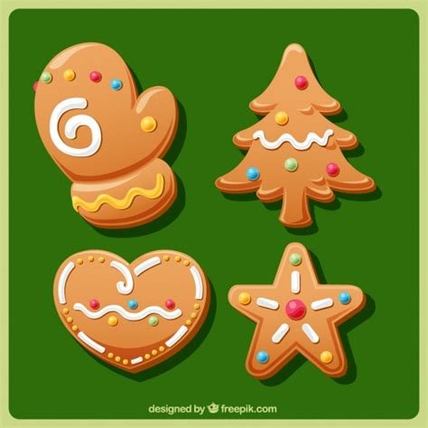 traditional ornaments set of traditional ornaments of gingerbread cookies vector