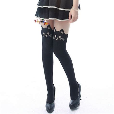 cat pattern tights 1 pair tattoo cat with tail print pattern pantyhose cute