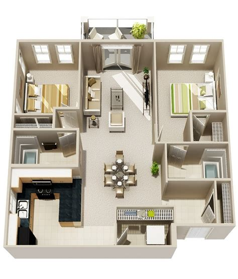 2 bed 2 bath 2 bedroom apartment house plans