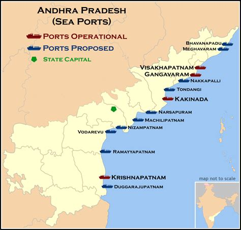 seaport map ports and harbours of andhra pradesh